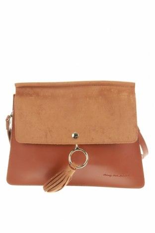 Дамска чанта Beverly Hills Polo Club, Цвят Кафяв, Еко кожа, текстил, Цена 38,25лв.