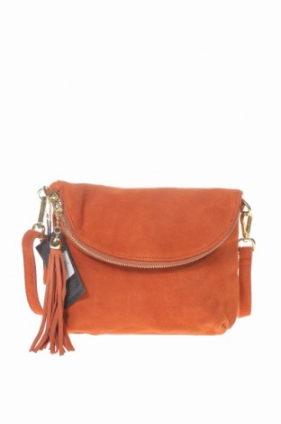 Дамска чанта Hautton, Цвят Кафяв, Естествен велур, Цена 89,25лв.