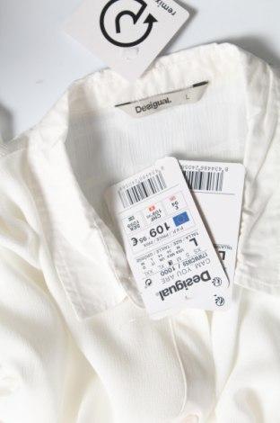 Дамска риза Desigual, Размер L, Цвят Бял, 88% полиестер, 12% памук, Цена 38,92лв.