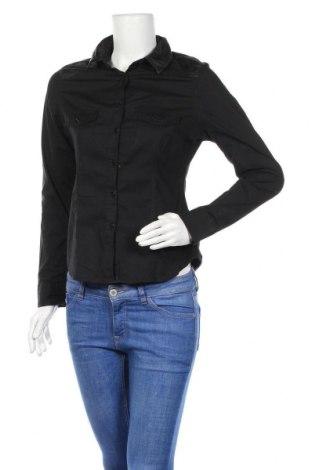 Γυναικείο πουκάμισο Yes Or No, Μέγεθος M, Χρώμα Μαύρο, 97% βαμβάκι, 3% ελαστάνη, δερματίνη, Τιμή 11,72€