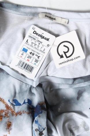 Дамска тениска Desigual, Размер L, Цвят Сив, Памук, Цена 50,37лв.