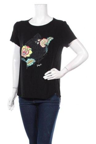 Дамска тениска Desigual, Размер L, Цвят Черен, Вискоза, Цена 44,50лв.