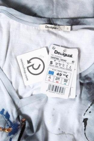 Дамска тениска Desigual, Размер S, Цвят Сив, Памук, Цена 34,50лв.
