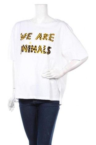 Дамска тениска Desigual, Размер XXL, Цвят Бял, Памук, Цена 44,25лв.