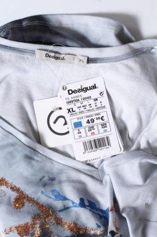 Дамска тениска Desigual, Размер XL, Цвят Сив, Памук, Цена 50,37лв.