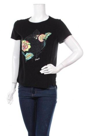 Дамска тениска Desigual, Размер L, Цвят Черен, Вискоза, Цена 42,72лв.