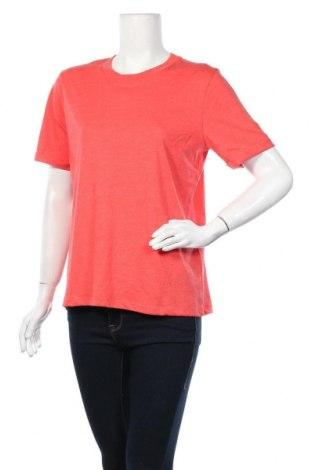 Дамска тениска Pieces, Размер L, Цвят Червен, 50% памук, 50% полиестер, Цена 14,40лв.