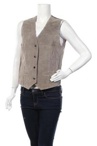 Дамски кожен елек Hennes, Размер M, Цвят Сив, Естествена кожа, Цена 8,82лв.