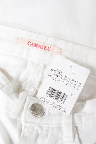Дамски панталон Camaieu, Размер XS, Цвят Бял, 98% памук, 2% еластан, Цена 23,60лв.