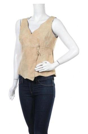 Γυναικείο αμάνικο μπλουζάκι Apart, Μέγεθος M, Χρώμα  Μπέζ, Γνήσιο δέρμα, Τιμή 11,82€