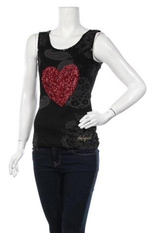 Γυναικείο αμάνικο μπλουζάκι Desigual, Μέγεθος XS, Χρώμα Μαύρο, Βισκόζη, Τιμή 14,10€