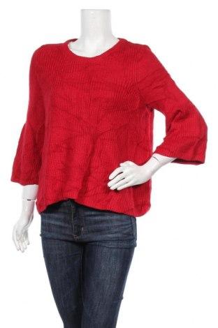 Дамски пуловер, Размер L, Цвят Червен, 75% памук, 25% модал, Цена 12,08лв.