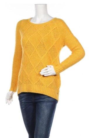 Дамски пуловер American Eagle, Размер M, Цвят Жълт, 53% памук, 26% акрил, 9% полиамид, 7% вълна, 4% други тъкани, 1% еластан, Цена 17,64лв.