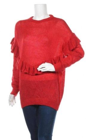 Дамски пуловер Lindex, Размер M, Цвят Червен, 52% акрил, 35% полиамид, 13% мохер, Цена 7,09лв.
