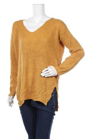 Дамски пуловер U2B, Размер XL, Цвят Жълт, Акрил, Цена 23,10лв.
