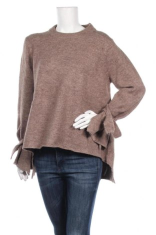 Дамски пуловер Zara Knitwear, Размер M, Цвят Кафяв, 71% акрил, 27% полиестер, 2% еластан, Цена 19,43лв.