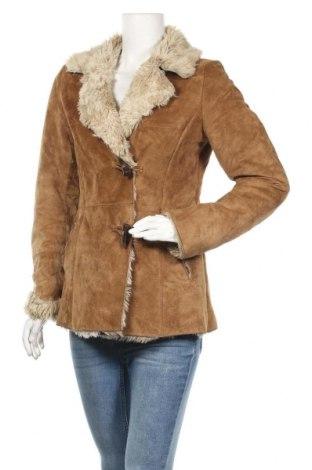 Дамско кожено палто H&M L.O.G.G., Размер M, Цвят Кафяв, Естествен велур, Цена 32,34лв.