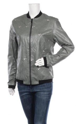 Дамско кожено яке, Размер L, Цвят Зелен, Еко кожа, Цена 33,92лв.