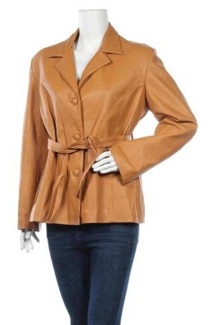 Дамско кожено яке, Размер L, Цвят Бежов, Естествена кожа, Цена 85,79лв.