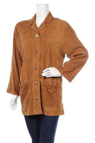 Дамско кожено яке, Размер L, Цвят Кафяв, Естествен велур, Цена 58,80лв.