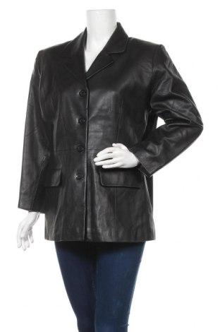 Дамско кожено яке, Размер L, Цвят Черен, Естествена кожа, Цена 78,75лв.