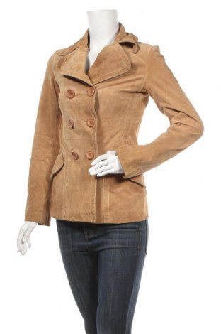 Дамско кожено яке Clockhouse, Размер S, Цвят Бежов, Естествена кожа, Цена 17,85лв.