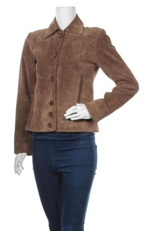 Дамско кожено яке H&M, Размер S, Цвят Бежов, Естествена кожа, Цена 27,41лв.