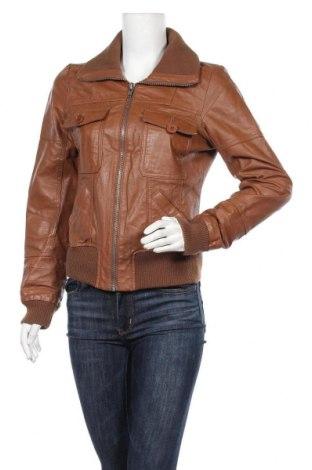 Дамско кожено яке ONLY, Размер M, Цвят Кафяв, Естествена кожа, Цена 18,90лв.