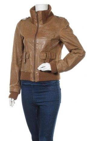 Γυναικείο δερμάτινο μπουφάν Vero Moda, Μέγεθος M, Χρώμα  Μπέζ, Γνήσιο δέρμα, Τιμή 50,27€