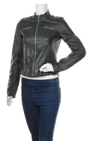Дамско кожено яке Zara Trafaluc, Размер M, Цвят Зелен, Естествена кожа, Цена 47,88лв.