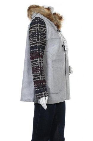 Дамско палто Desigual, Размер L, Цвят Сив, 50% полиестер, 41% вълна, 3% полиамид, 2% акрил, 2% памук, Цена 201,75лв.