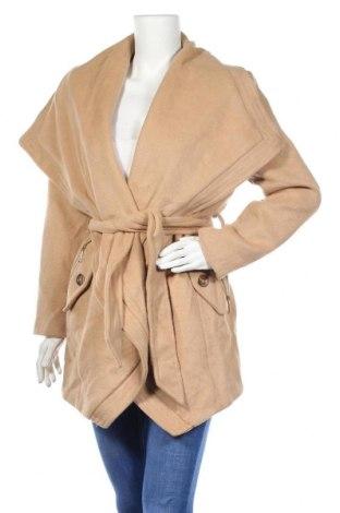 Дамско палто Kardashian Kollection, Размер M, Цвят Бежов, 25% вълна, 75% полиестер, Цена 16,80лв.