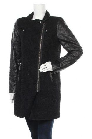 Дамско палто Laura Scott, Размер M, Цвят Черен, Полиестер, вълна, еко кожа, Цена 60,30лв.