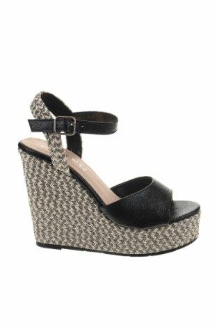 Sandale CAFèNOIR, Mărime 39, Culoare Negru, Piele ecologică, textil, Preț 158,09 Lei