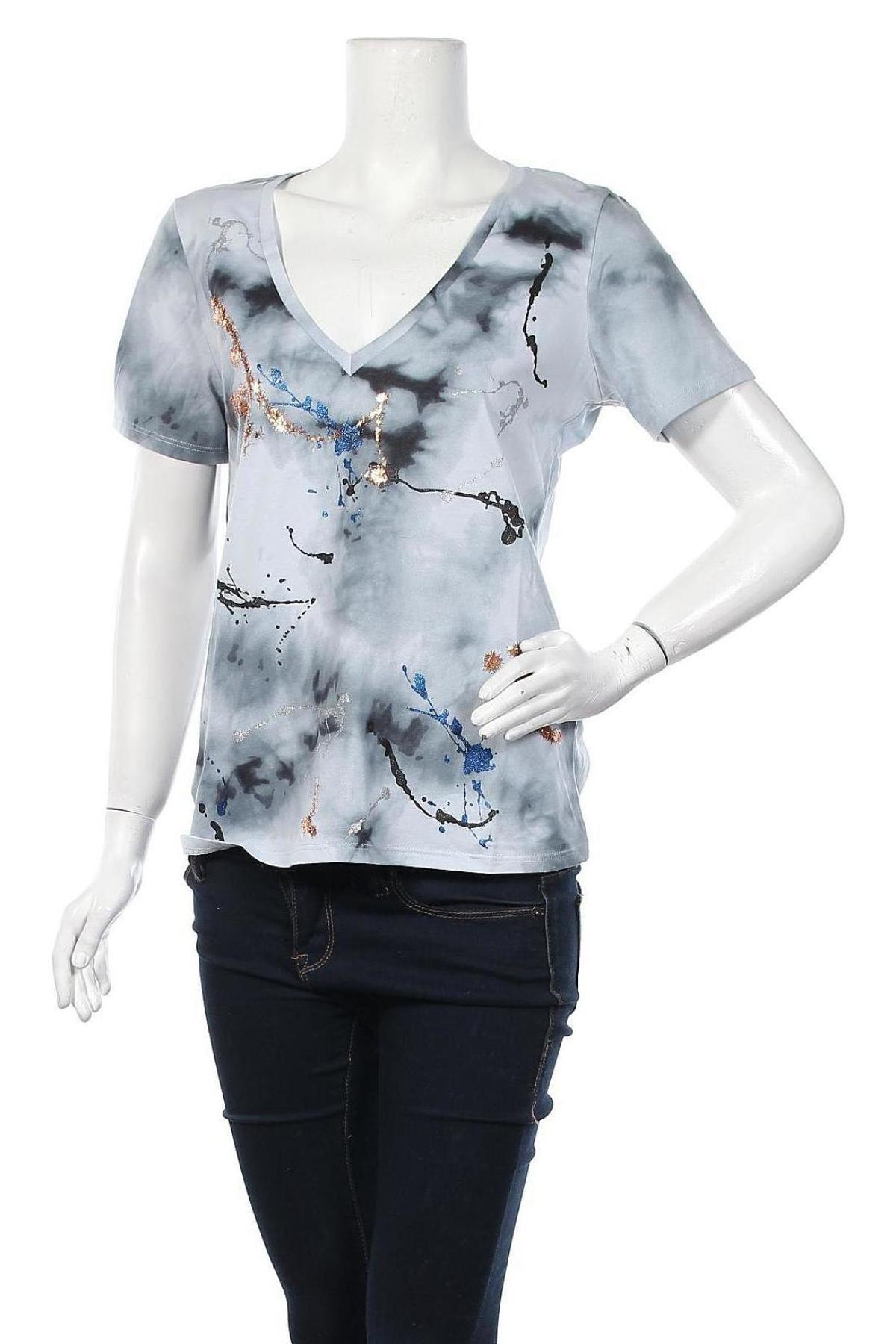Дамска тениска Desigual, Размер L, Цвят Сив, Памук, Цена 51,75лв.