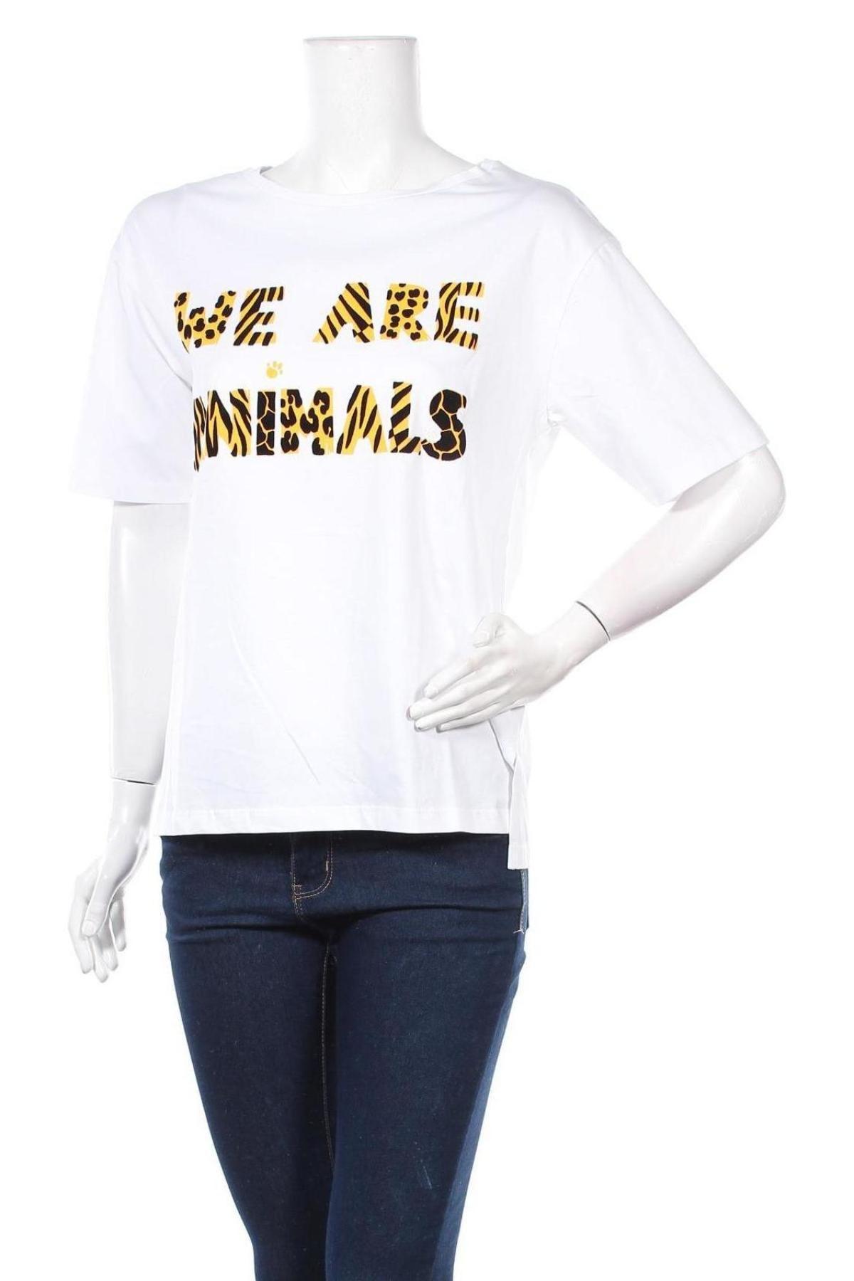 Дамска тениска Desigual, Размер M, Цвят Бял, Памук, Цена 44,25лв.