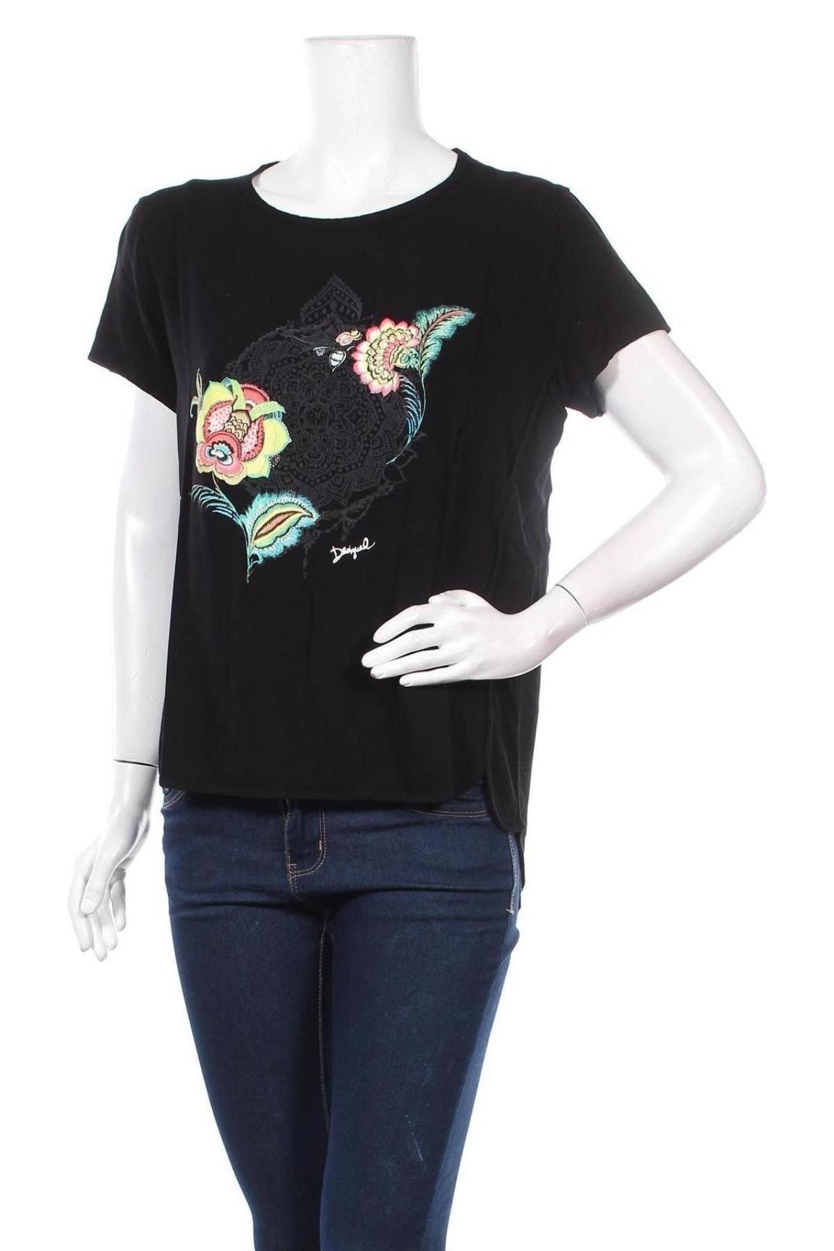 Дамска тениска Desigual, Размер L, Цвят Черен, Вискоза, Цена 66,75лв.