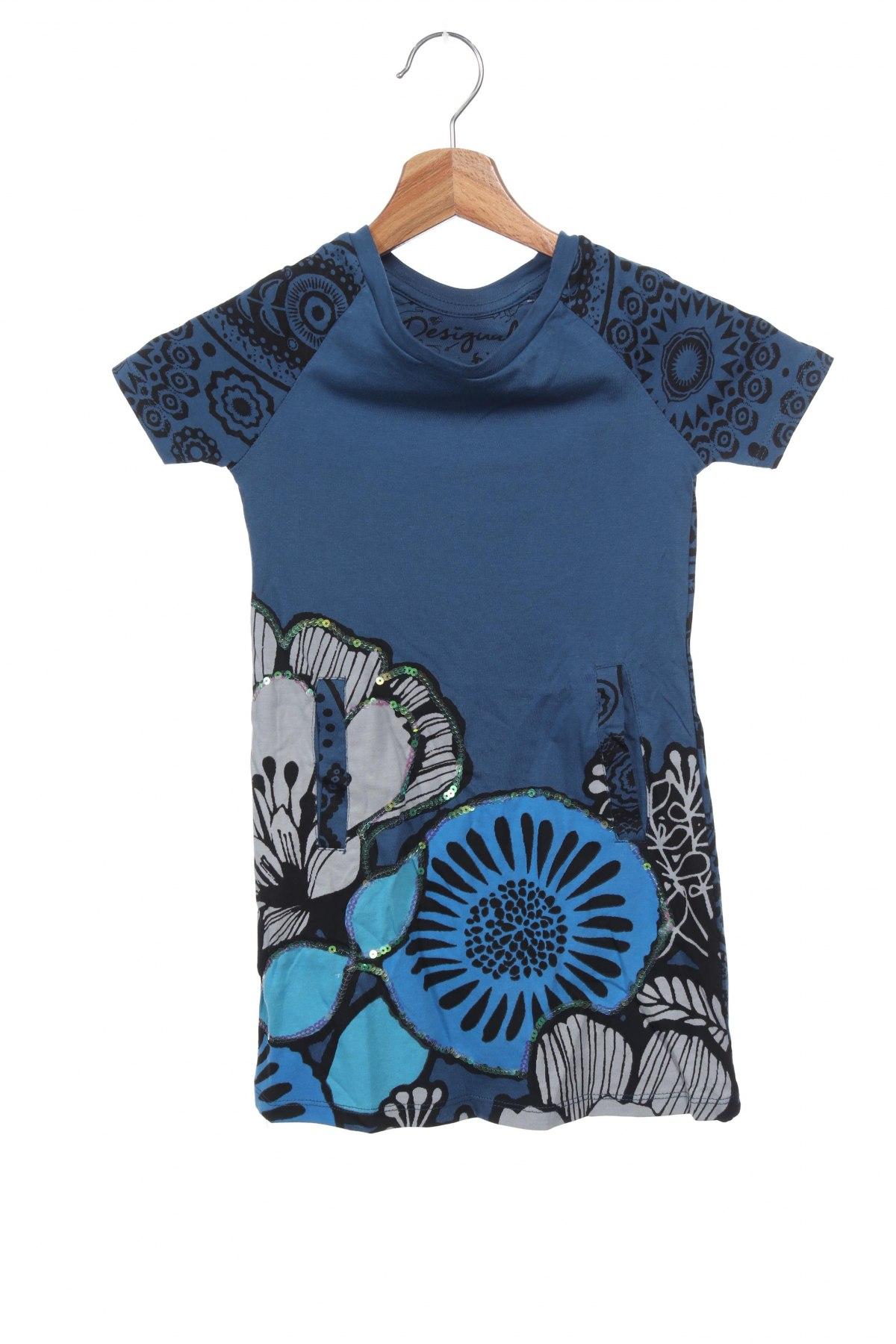 Παιδικό φόρεμα Desigual, Μέγεθος 3-4y/ 104-110 εκ., Χρώμα Μπλέ, Βαμβάκι, Τιμή 19,56€