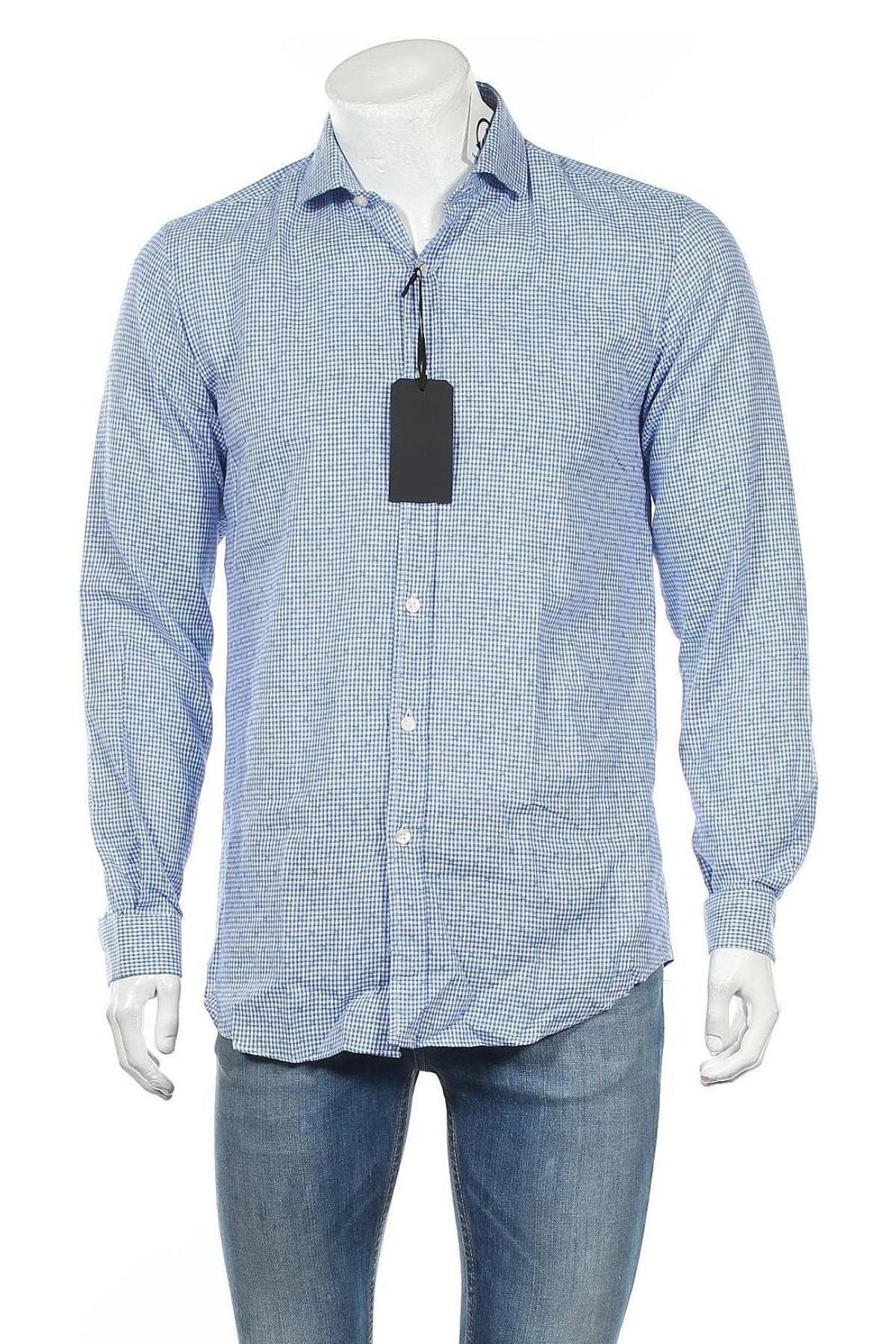 Мъжка риза Liu Jo, Размер M, Цвят Син, 55% лен, 45% памук, Цена 73,50лв.