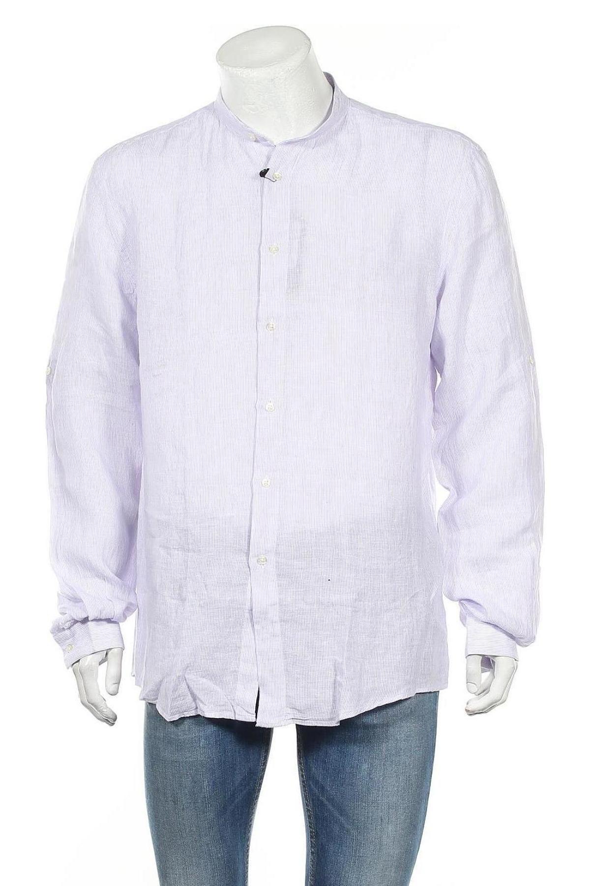 Мъжка риза Liu Jo, Размер XL, Цвят Лилав, Лен, Цена 73,50лв.