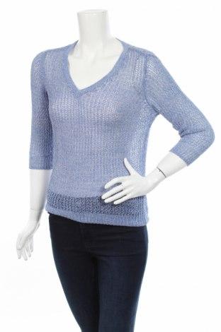 Дамски пуловер Flame, Размер S, Цвят Син, 58% памук, 20% полиамид, 15% акрил, 7% метални нишки, Цена 6,50лв.
