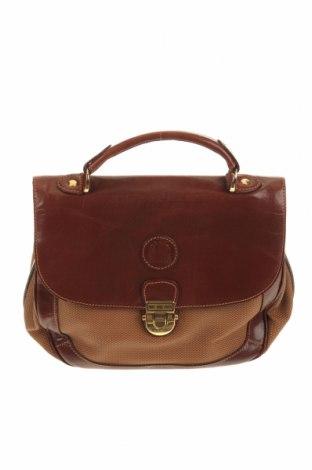 Дамска чанта, Цвят Кафяв, Естествена кожа, текстил, Цена 38,85лв.