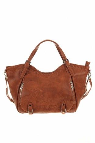 Дамска чанта Desigual, Цвят Кафяв, Еко кожа, Цена 70,95лв.