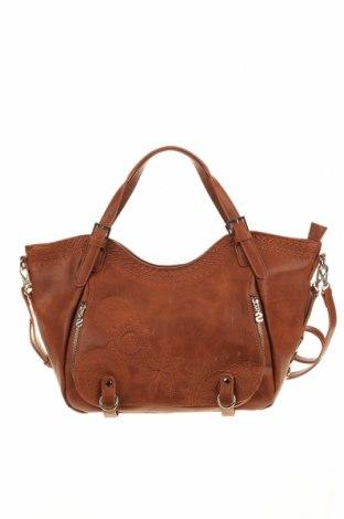 Дамска чанта Desigual, Цвят Кафяв, Еко кожа, Цена 38,92лв.