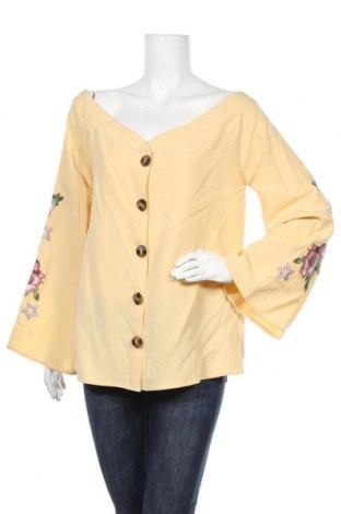 Дамска риза Mint & Berry, Размер L, Цвят Жълт, 84% лиосел, 16% лен, Цена 26,88лв.