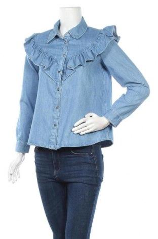 Γυναικείο πουκάμισο Zara, Μέγεθος S, Χρώμα Μπλέ, 78% βαμβάκι, 22% lyocell, Τιμή 13,46€