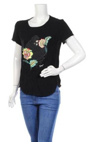 Дамска тениска Desigual, Размер M, Цвят Черен, Вискоза, Цена 42,72лв.