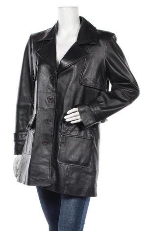 Дамски кожен шлифер, Размер L, Цвят Черен, Естествена кожа, Цена 21,17лв.