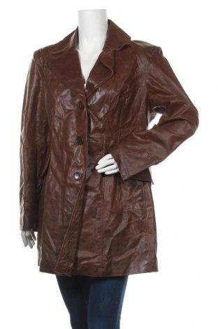 Дамски кожен шлифер A.N.A., Размер XL, Цвят Кафяв, Естествена кожа, Цена 36,96лв.
