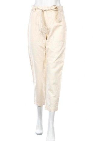 Дамски панталон Mango, Размер M, Цвят Бежов, 82% памук, 18% лен, Цена 22,42лв.